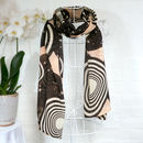 'Concentric Circles' 100% Wool Voile Scarf Wrap