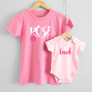 'Rose' And 'Bud' T Shirt Set
