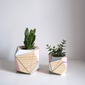 Geometric Wooden Planter - new in garden