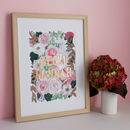Personalised Family Blush Florals Papercut Print