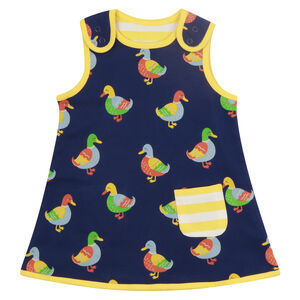 Baby Girls Navy Blue Duck Reversible Dress