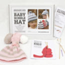 Baby bobble hat knitting kit in blossom pink & soft fawn