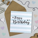 Superstar Blue Stripe Birthday Card
