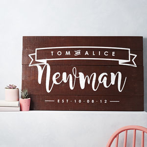 Personalised Couple Name And Date Wooden Sign Artwork - personalised wedding gifts