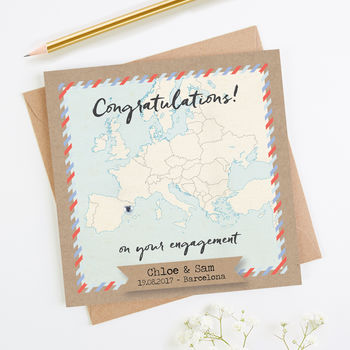 Map Engagement Card Personalised Europe
