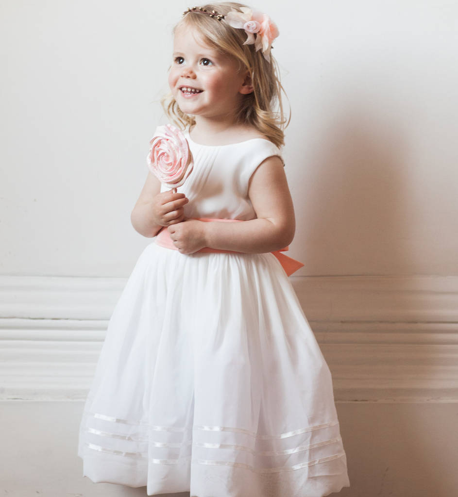 Flower girl dress with sash by matchimony notonthehighstreet flower girl dress with sash mightylinksfo