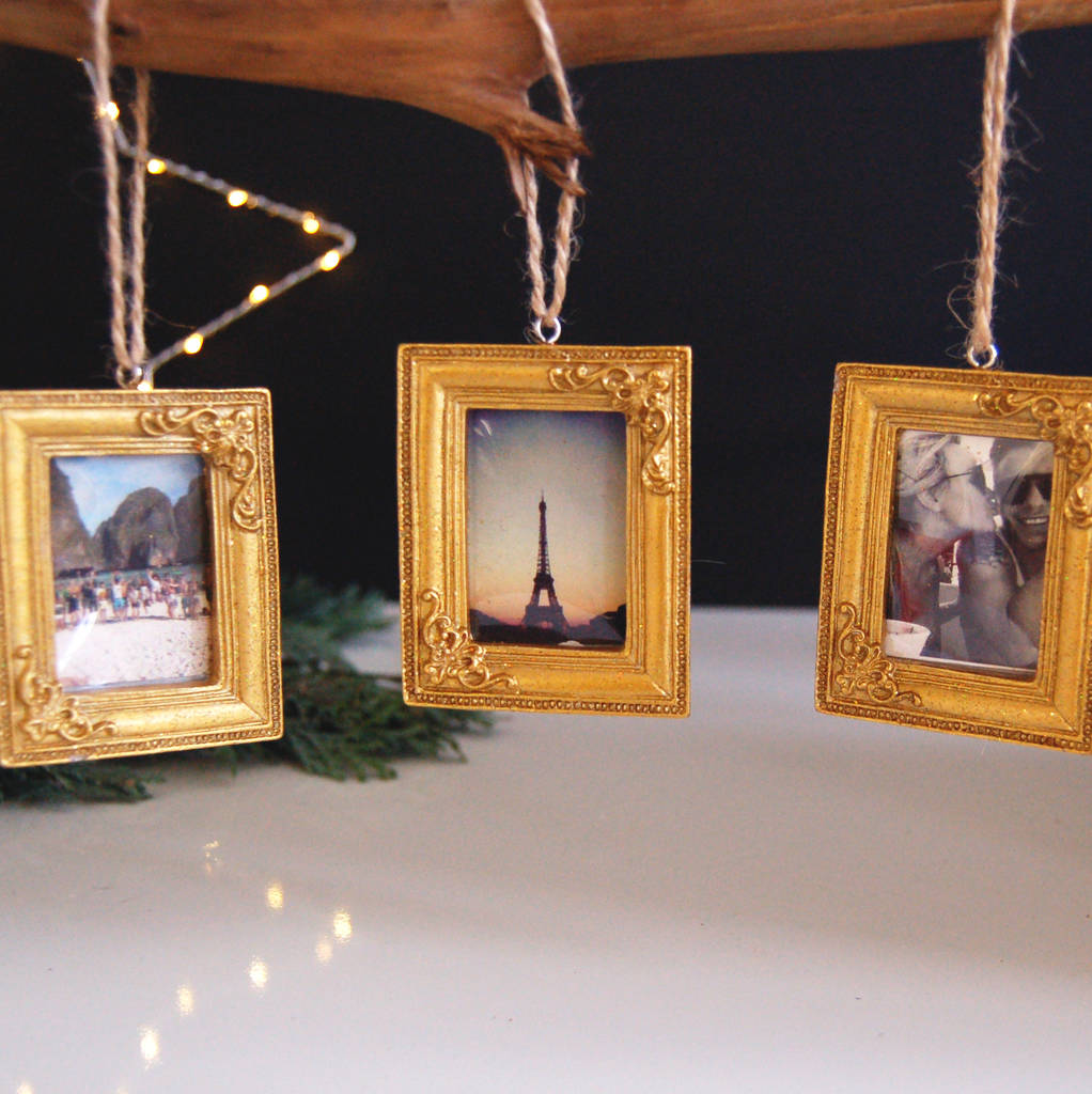 gold picture frame hanging christmas decoration bauble