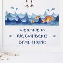 Personalised Beach House Print, Ocean Sea Art