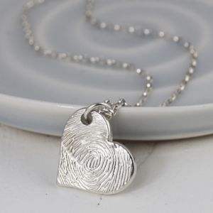 Personalised Ink Fingerprint Silver Heart Necklace