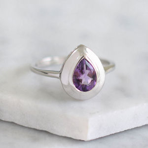 Sterling Silver Teardrop Amethyst Bezel Ring - rings