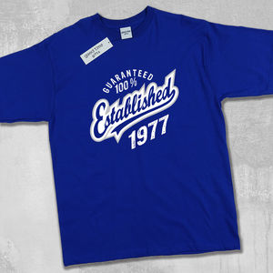 'Established 1977' 40th Birthday T Shirt - 40th birthday gifts
