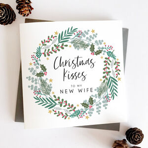 New Wife Wreath Christmas Card