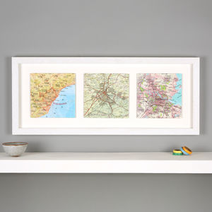 Three Map Location Squares Wedding Anniversary Print - mixed media & collage