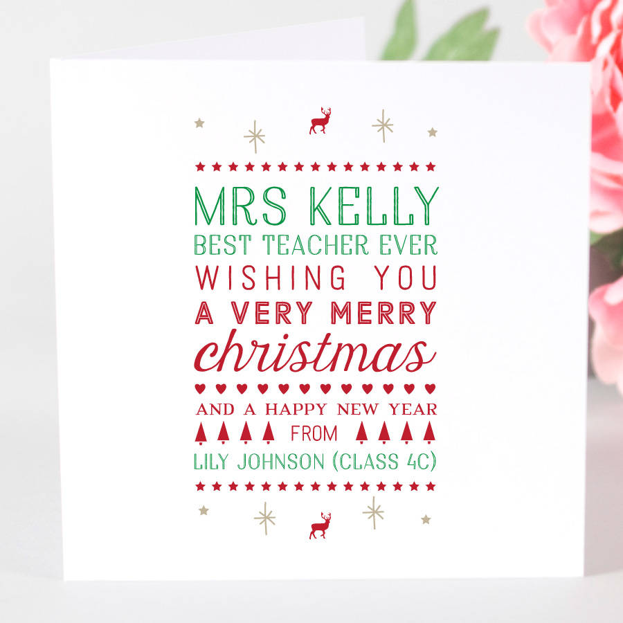 Personalised Teacher Christmas Card By Megan Claire