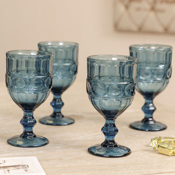 Set Of Four Sapphire Blue Cut Glass Wine Goblets