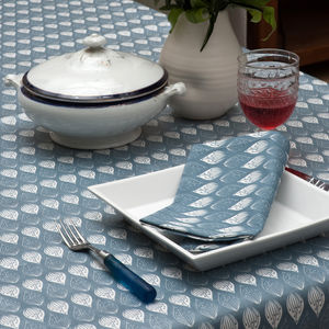 Isabella Blue Organic Cotton Table Cloth - bed, bath & table linen