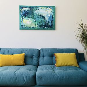 Abstract Blue Colourful Painting Original On Canvas - modern & abstract