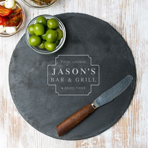 His Bar Personalised Slate Serving Board - summer sale