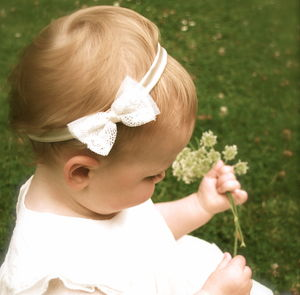 Amber Silk Lace Bow Flower Girl, Christening Headband - more