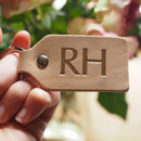 Personalised Initials Natural Leather Key Ring