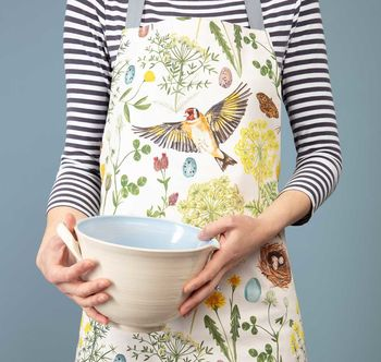 Goldfinch And Buttercup Floral And Bird Apron