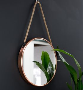 Round Copper Mirror On A Rope - home accessories