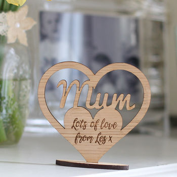 Personalised Wooden Heart Mummy Stand