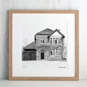 Personalised Detailed House Illustration - mrs & mrs