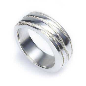 Silver Texture Bound Ring Satin Finish