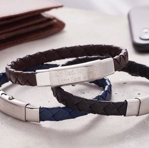 Personalised Adjustable Leather Bracelet For Men - men's jewellery sale