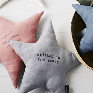'Written In The Stars' Linen Cushion