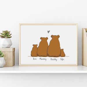 Personalised Bear Family Print - posters & prints