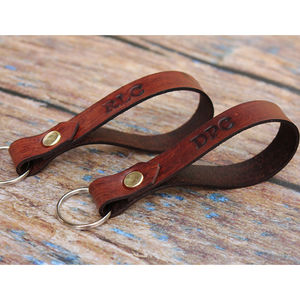 Set Of Two Personalised Leather Keyrings - 21st birthday gifts