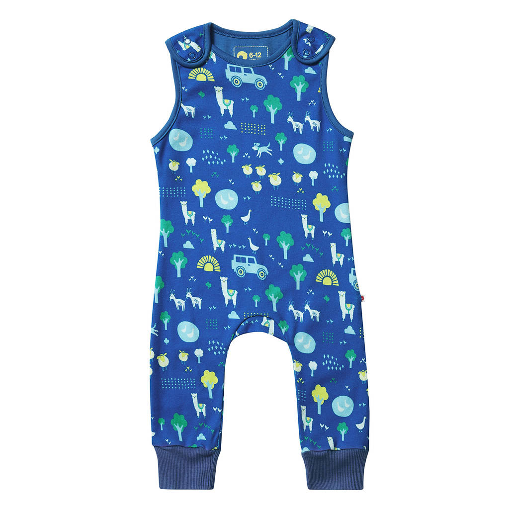 Unisex Blue Farm Themed All In One Baby Dungarees