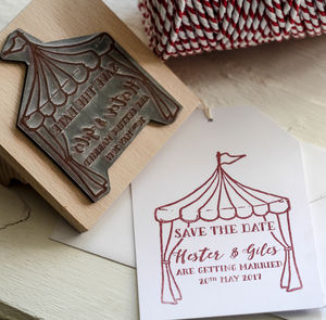 Tent Save The Date Stamp - wedding stationery