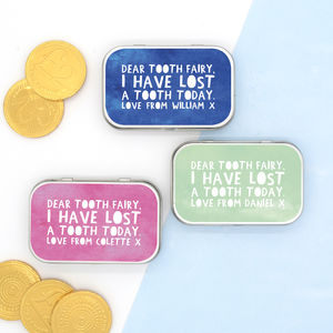 Child's Personalised Tooth Fairy Tin