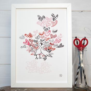 Swan Love Wedding Print Personalised