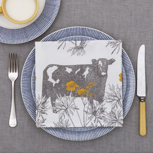 Cow And Buttercup Napkin Set Of Four
