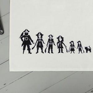 Personalised Tea Towel Pirate Family - kitchen linen