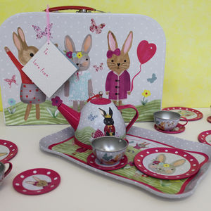 Bunny Rabbit Tin Tea Set In Carry Case - traditional toys & games