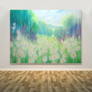 Through The Daisies To The Sea Summer Landscape - paintings