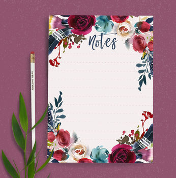 Luxury Watercolour Floral Notepad And Pencil Set