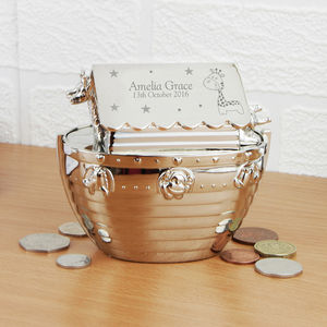 Engraved Noah's Ark Money Box - personalised gifts for babies