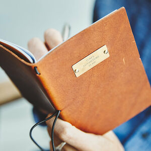 Personalised Leather Journal With Brass Plate