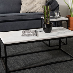 Marble Top Coffee Table With Black Steel Frame - furniture