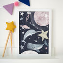 Sea Creatures In Space Children's Nursery Print