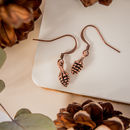 Copper Pine Cone Earrings