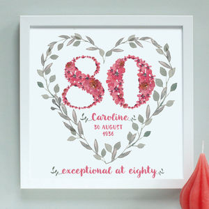 Personalised 70th, 80th, 90th Birthday Framed Print - 80th birthday gifts