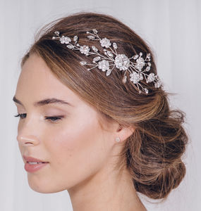 Silver Crystal Wedding Hair Vine Comb Small Sybil - more