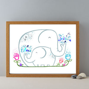 Personalised Child's Name Two Baby Elephants Gift Print
